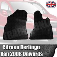 Citroen Berlingo Van 2008 On Heavy Duty Black Rubber Tailored Floor Mat Set Mats
