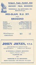 BridgendvMid Glamorgan Rugby Union 16 Sep 1964 RUGBY PROGRAMME