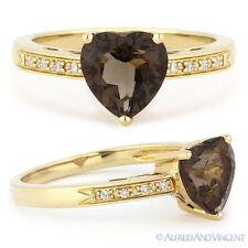 Right Hand Ring 14k Yellow Gold 1.23ct Heart-Shape Smoky Topaz Round Cut Diamond