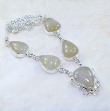 "Handmade Natural Rutilated Quartz 925 Sterling Silver Necklace 18.5"" AA1017"
