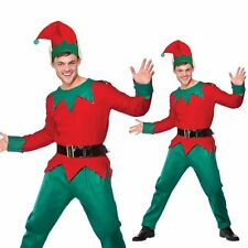 Adults Elf Fancy Dress Costume Santas Helper Christmas Outfit Mens Ladies Gnome