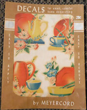 Vintage Meyercord Decals X960D Teapot Plate Flowers Kitchen Teacup 4 Decals
