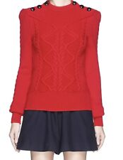 Isabel Marant - Dustin Red Sweater - Button Shoulder Cable Knit - US 4 - 36