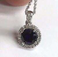 "JWBR 925 Sterling Silver Halo Pendant Necklace- Round Blue Sapphire & CZ - 18"""