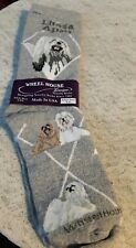 NEW Wheel House Designs Novelty Crew Socks Lhasa Apso Dog on grey NEW
