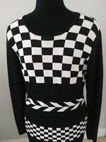 Carducci Women's White & Black Knit Top/Pullover Size M Long Sleeve Scoop Neck.