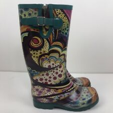 Nomad Turquoise Monet Rubber Rain Boots Size 6
