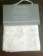 The Texture Collection White Cotton With Medallion Embroidery Shower Curtain