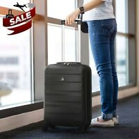 Aerolite 55x35x20 Carry On Lightweight Hand Luggage Cabin Bag Suitcase Black