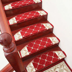 Traditional Oriental Stair Treads Set Stair Carpet Non Skid Mats Red Coffee New