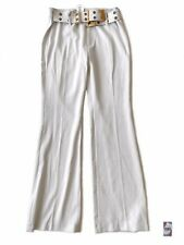 VERTIGO WITH BELT WOMEN'S WHITE PANTS SIZE 10 NEW WITHOUT TAGS MADE IN FRANCE 85