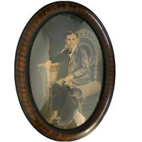 Antique Bubble Glass Frame Oval with B&W Boy Picture Decoration Creepy Vintage