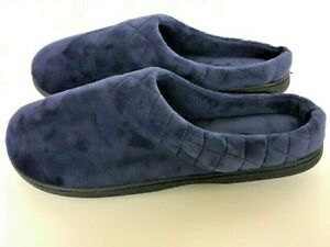 Dearfoams Women's Quilted Trim Velour Clog Slippers US Size XL Slip On Navy