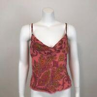 Emanuel Ungaro Paisley Drape Neck Silk Camisole Tank Top Womens 4 Lace Trim