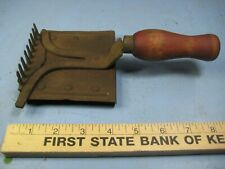 Antique Horse grooming Tool w/ Wood Handle, Two Sided, Unique Curry Comb