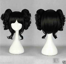 Lolita Black Japanese Harajuku Style Cosplay Wig With Two Clip On Ponytail XG