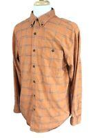 Territory Ahead Men's Button Down Long Sleeve Textured Orange Plaid Shirt Large