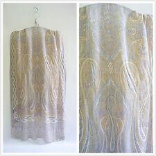 METRO CITY gray pure silk print women men summer long scarf P702353