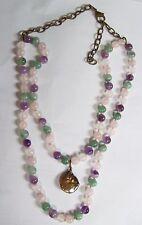 Unusual Green Purple & Pink JADE Necklace