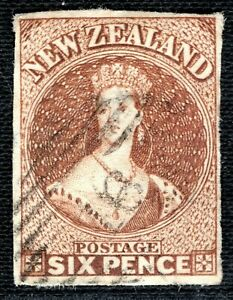 NEW ZEALAND QV Chalon SG.15 6d Chestnut (1857-63) Used Cat £600- RBLUE1
