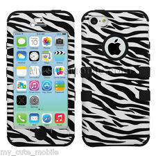 Apple iPhone 5C Case - Black Zebra Tuff Hybrid Silicone Skin+Hard Cover