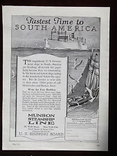 1924 Munson Steamship Line  Fastest Time To South America Advertisement