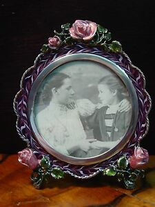 Silver Pewter Purple Enamel ROSE OVAL Frame