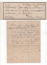 New London CT CEDAR GROVE CEMETERY 1888 Headstone Receipt & 1894 Vault Receipt
