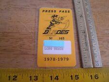 1978-79 Los Angeles Blades Pacific Hockey League Media press pass RARE
