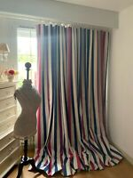 NOBILIS door CURTIAIN HERRINGBONE WOVEN appliqué STRIPE interlined & BLACKOUT