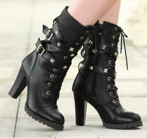 Womens Rivet Studded High Heel Mid Calf Buckle Lace Up Black Boots Shoes