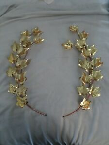 "Vintage METAL LAUREL Gold Leaves WREATH 18"" Antique Farmhouse Hanging WALL ART"