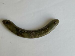 Antique Pre Columbian Olmec Carved Polished Curved Jade Stone Amulet Pendant 3""