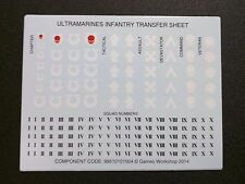 Warhammer 40k Space Marines Ultramarines Infantry Transfer Sheet Bits