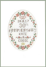 Pearl anniversario di matrimonio Cross Stitch Card-Kit completo con cartella colori