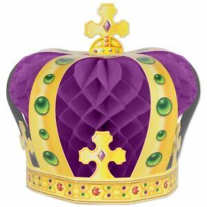 "Mardi Gras Crown Centerpiece 8"" Paper Purple Mardi Gras Decorations Supplies"