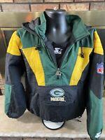 Vintage Green Bay Packers Hooded Starter Puffy NFL Football Jacket Mens Medium
