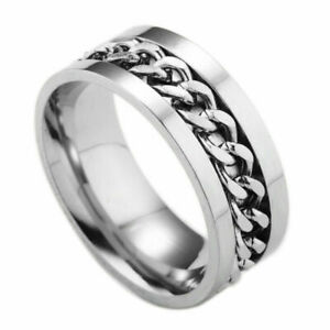 Men Couple Ring Cool Stainless Steel Rotatable High Quality Spinner Chain Punk