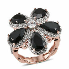 Black Spinel Rose Gold Over 925 Sterling Silver Cluster Ring 7.4 Cttw Size 6 -st
