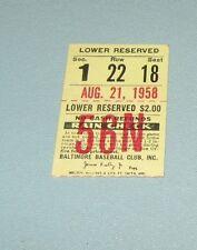 1958 Baltimore Orioles Detroit Tigers Baseball Game Ticket Stub Gus Triandos HR