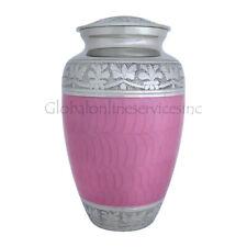 Memorial Urn for Ashes, Elegant Pink Enamel and Nickel Adult Urn