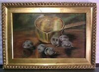 Antique Style Oil Painting Realism Still Life Fruit Gold Frame