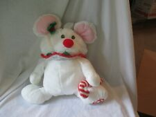 New listing Fisher Price Puffalump 1987 White Nylon Candy Cane Mouse Christmas Toy Vintage