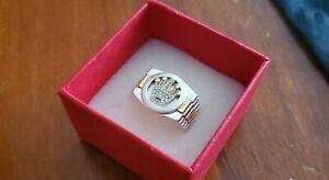 Herrenring Silber 925 mit Goldkranz - Juwelierhergestellt Kronen-Rolex-Design