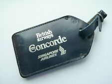 Rare British Airways/Singapore Airlines Concorde Blue Leather Luggage Tag