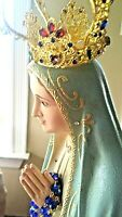 Our Lady of Fatima Metal Crown,rosary,glass eyes,Portugal, granite like 31 in
