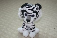 "Kellytoy Black White Striped Tiger African Animal Stuffed Plush 8"" Cat Family"