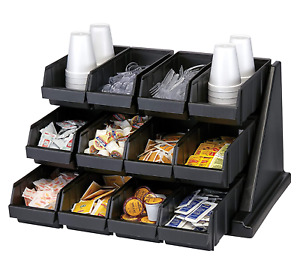 Cambro 12RS12110 Black Versa Self Serve Condiment Bin Stand Set with 3-Tier Stan