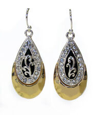 Designer Textured with Gold Silver Black & Crystals Teardrop Earring's