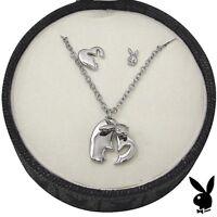 Playboy Jewelry Set Necklace Earring Silver Plated Swarovski Crystal Heart Bunny